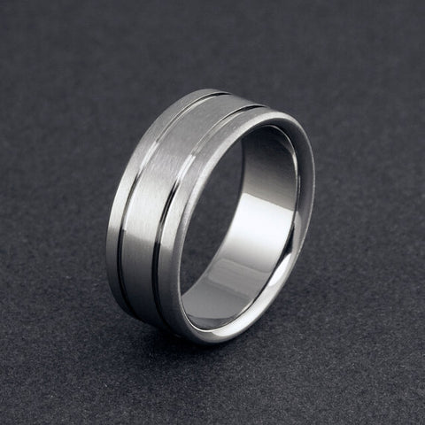 Titanium Band - Flat Profile - Two Pinstripes