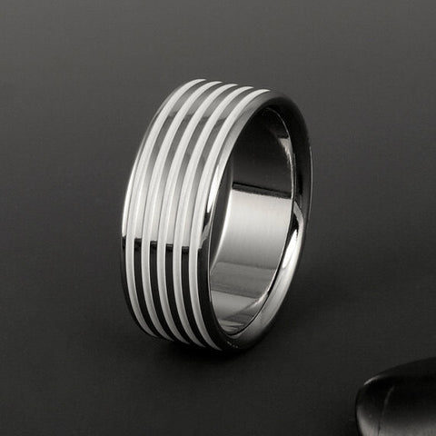 Titanium Band - Flat Profile - White Pinstripes