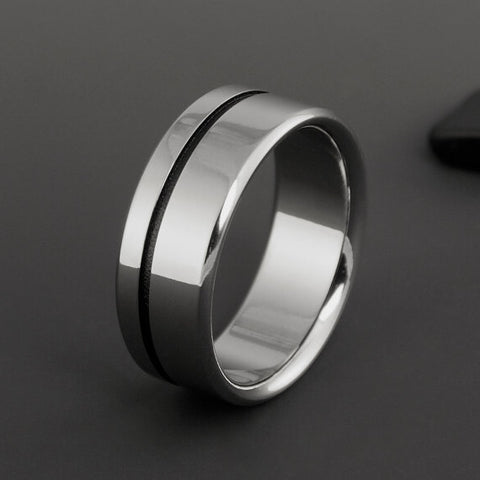 Titanium Band - Off Center Black Pinstripe