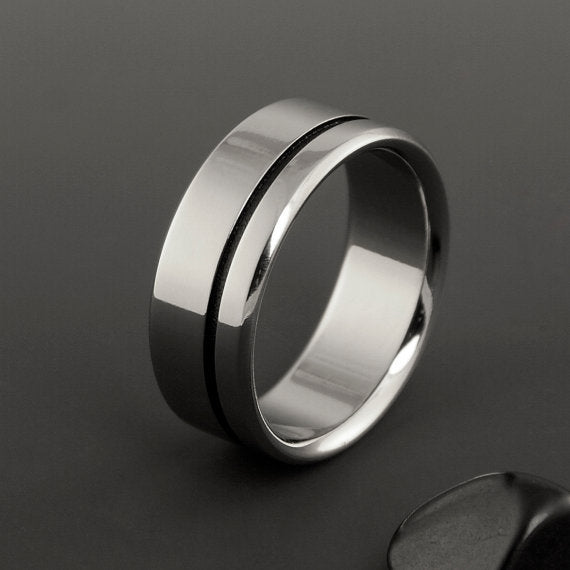 Handmade Titanium Ring With Black Stripe