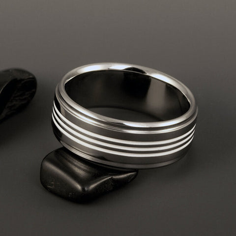 Titanium Band - Three Centered White Pinstripes - Stepped Down Edges