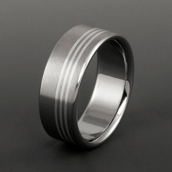 Titanium Band - Three Off Center Sterling Silver Pinstripes