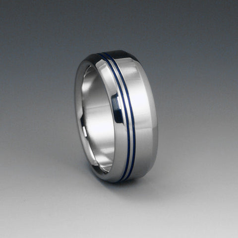 Titanium Band - Two Off Center Blue Pinstripes - Beveled Edges