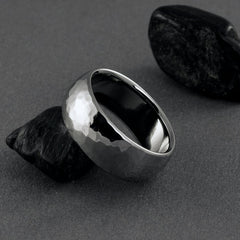 Titanium Hammered Ring - Domed Profile