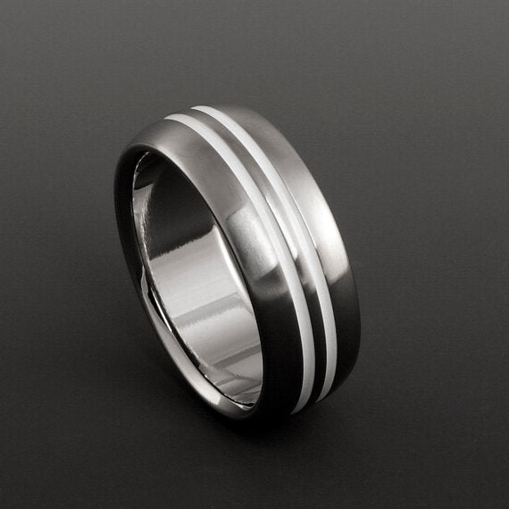 Titanium Ring - Domed Profile - Double White Centered Pinstripes
