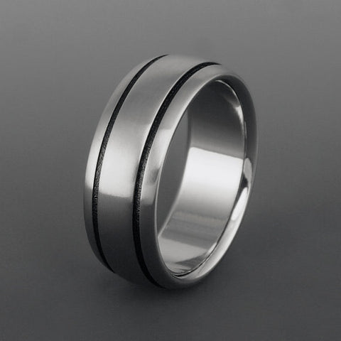 Titanium Ring - Domed Profile - Two Black Pinstripes on Either Side