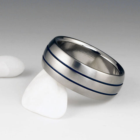 Titanium Ring - Domed Profile - Two Blue Pinstripes