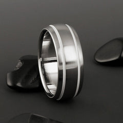 Titanium Ring - Domed Profile - Two White Pinstripes on Either Side