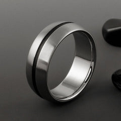 Titanium Ring - Domed Profile - Wide Centered Black Pinstripe