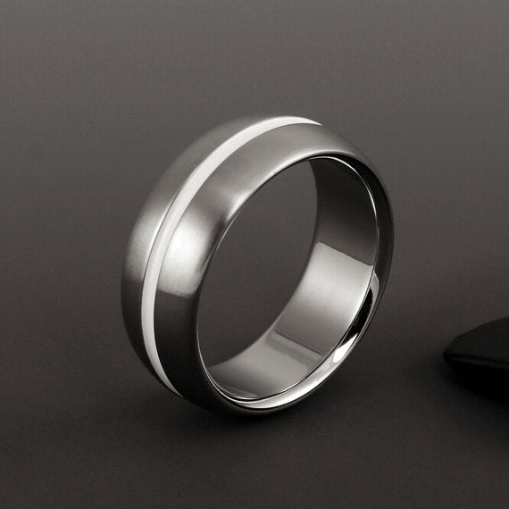 Titanium Ring - Domed Profile - Wide White Centered Pinstripe