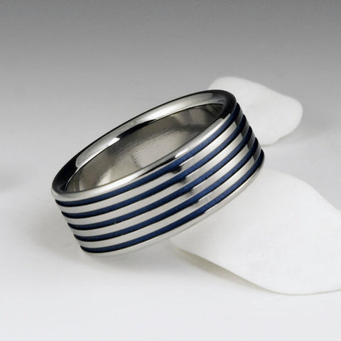 Titanium Ring - Flat Profile - Blue Pinstripes
