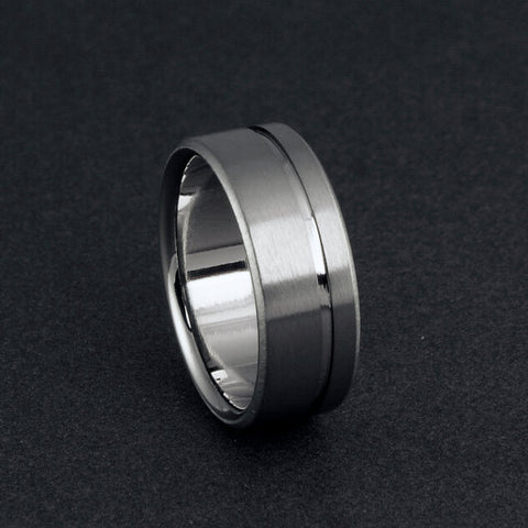 Titanium Ring - Flat Profile - One Off Center Pinstripe