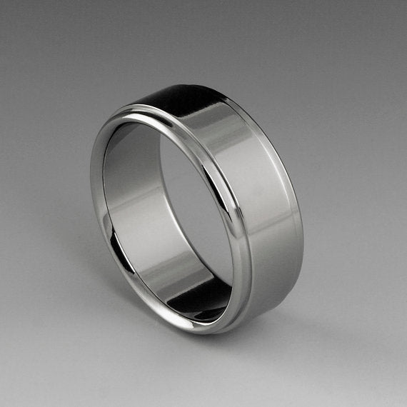 Titanium Ring - Flat Profile - Stepped Down Edges