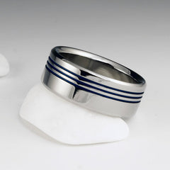Titanium Ring - Flat Profile - Three Off Center Blue Pinstripes