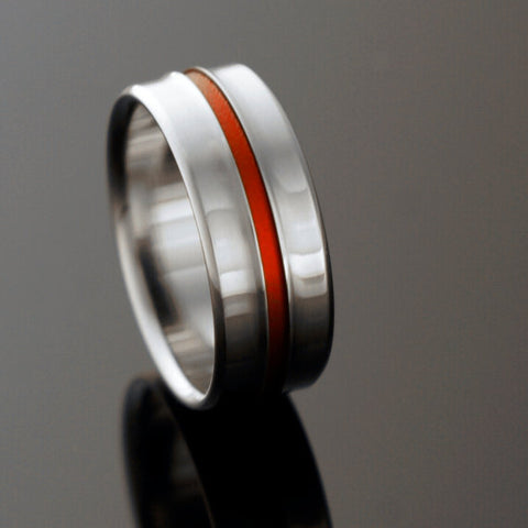 Titanium Ring - Gradually Raised Center - Red Inlay