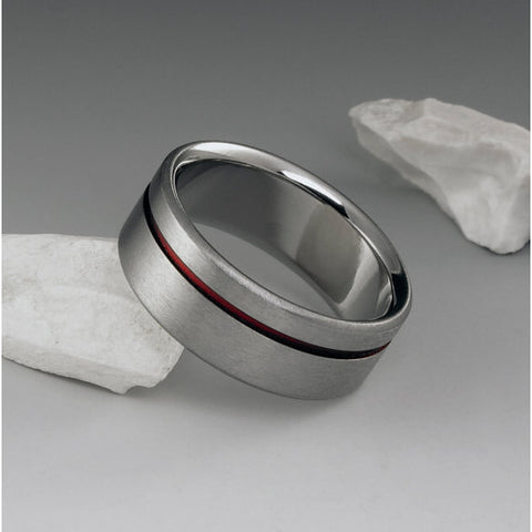 Titanium Ring - Offset Red Pinstripe