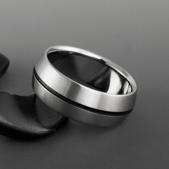 Titanium Ring - Peaked Profile - Centered Black Pinstripe