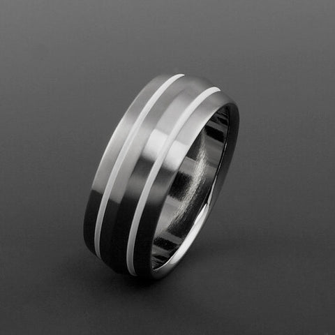 Titanium Ring - Peaked Profile - Two White Pinstripes on Either Side
