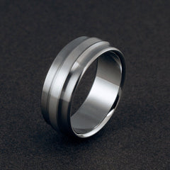Titanium Ring - Sterling Silver Inlay - Gradually Raised Center