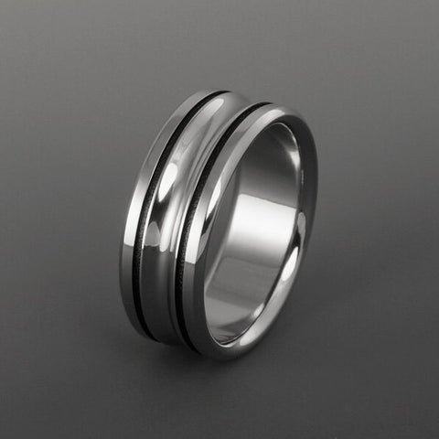 Titanium Ring - Two Black Pinstripe Inlays - Concave Center