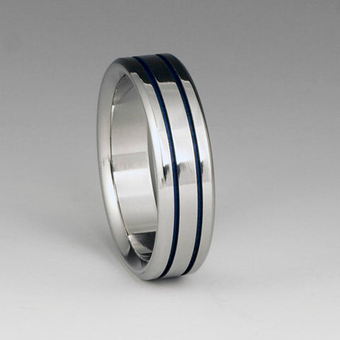 Titanium Ring - Two Blue Pinstripes on Either Side