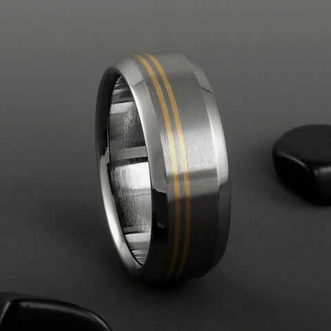 Titanium Ring - Two Off Center 18k Solid Gold Pinstripes - Beveled Edges
