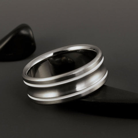 Titanium Ring - Two White Pinstripe Inlays - Concave Center