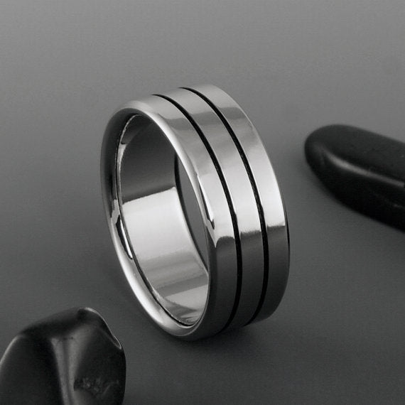 Titanium Wedding Ring- Black Pinstripe Titanium Ring