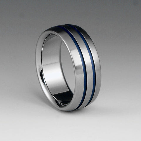 Titanium Band - Flat Top - Beveled Edges - Two Centered Blue Pinstripes