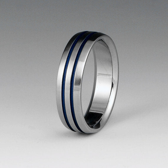 Titanium Band- Thin Blue Line Titanium Ring