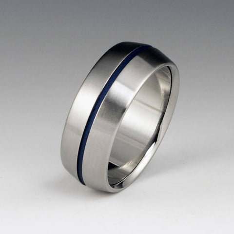 Titanium Band - Peaked Profile - Centered Blue Pinstripe