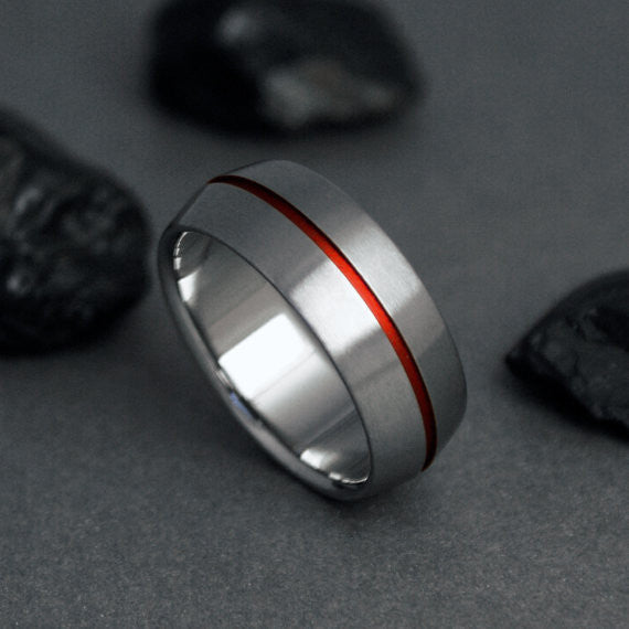 Unique Titanium Wedding Band Red Pinstripe