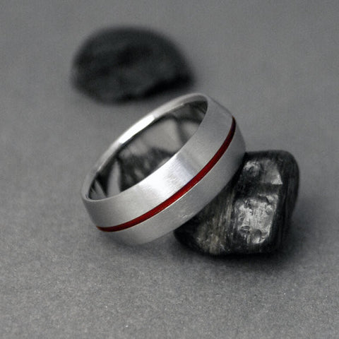 Titanium Band - Peaked Profile - Centered Red Pinstripe