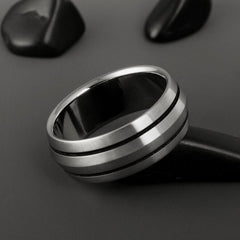Black Stripe Titanium Wedding Ring
