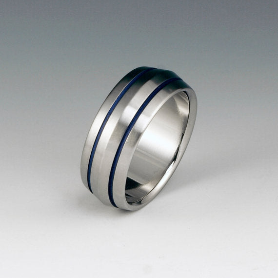 Handmade Titanium Band Thin Blue Line