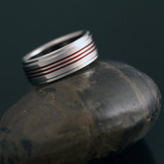 Titanium Band - Three Centered Red Pinstripes - Stepped Down Edges