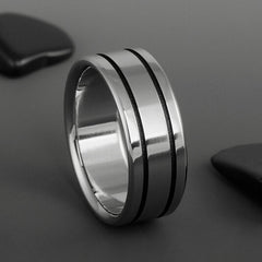 Titanium Band - Two Black Pinstripes on Either Side
