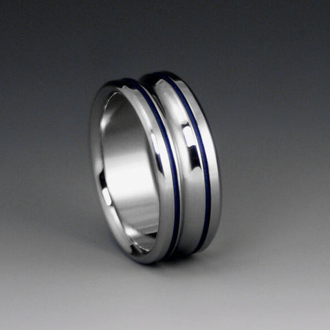 Titanium Band - Two Blue Pinstripe Inlays - Concave Center