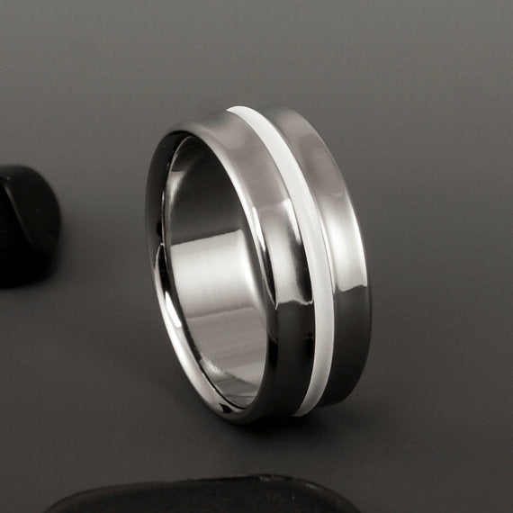 Titanium Band - Gradually Raised Center - White Inlay