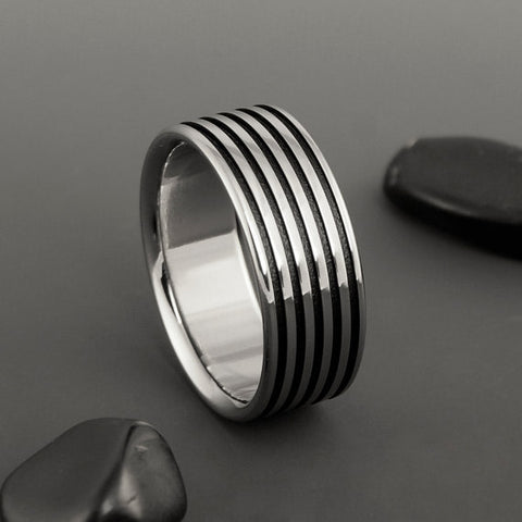 Titanium Ring - Black Pinstripe Inlays