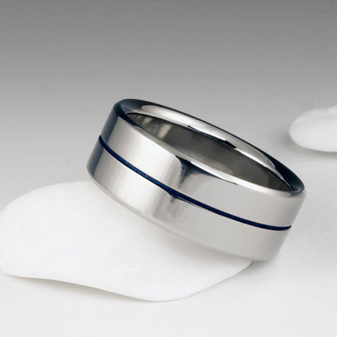 Titanium Ring - Centered Blue Pinstripe