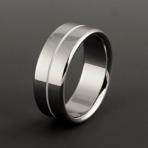 Titanium Ring - Centered White Pinstripe