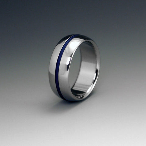 Titanium Ring - Domed Profile - One Wide Blue Pinstripe