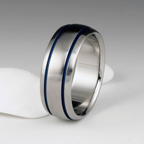 Titanium Ring - Domed Profile - Two Blue Pinstripes on Either Side