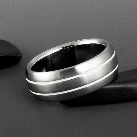 Titanium Ring - Domed Profile - Two White Pinstripes