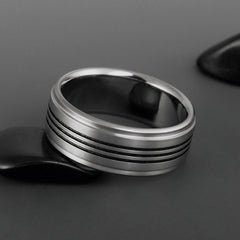 Titanium Ring - Flat Profile - Three Centered Black Pinstripes - Stepped Down Edges