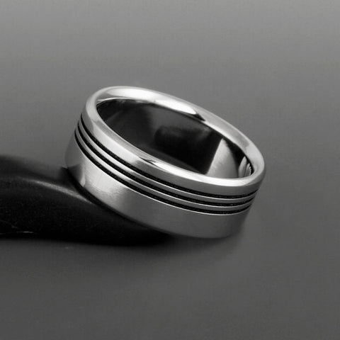 Titanium Ring - Flat Profile - Three Off Center Black Pinstripes