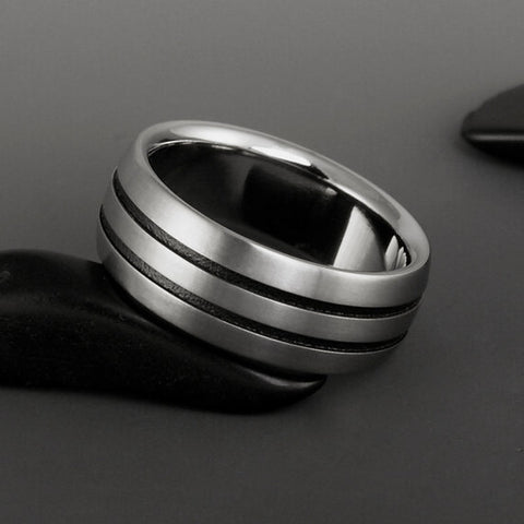 Titanium Ring - Flat Top - Beveled Edges - Two Centered Black Pinstripes