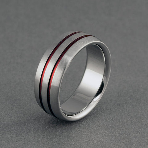 Titanium Ring - Flat Top - Beveled Edges - Two Centered Red Pinstripes