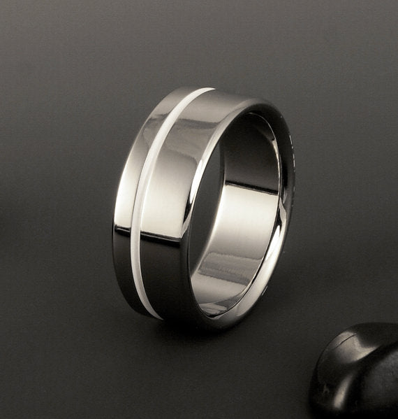 Titanium Ring - One Offset White Pinstripe